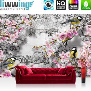 liwwing Vlies Fototapete 312x219cm PREMIUM PLUS Wand Foto Tapete Wand Bild Vliestapete - Blumen Tapete Blume Blüten Vögel Ornamente schwarz weiß - no. 1538