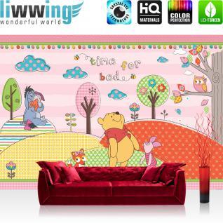 liwwing Vlies Fototapete 200x140 cm PREMIUM PLUS Wand Foto Tapete Wand Bild Vliestapete - Disney Tapete Disney - Winnie Pooh Kindertapete Cartoon Bär Fuchs Eule Baum rosa - no. 1121