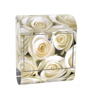 Edelstahl Wandbriefkasten XXL mit Motiv & Zeitungsrolle | Blumen Rose Blüten Natur Liebe Love Blüte Weiß | no. 0184