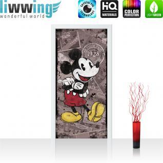 liwwing Vlies Türtapete 91x211 cm PREMIUM PLUS Tür Fototapete Türposter Türpanel Foto Tapete Bild - DISNEY Mickey Mouse Kindertapete Cartoon Maus Freude Glück - no. 1093