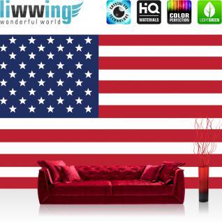 liwwing Vlies Fototapete 416x254cm PREMIUM PLUS Wand Foto Tapete Wand Bild Vliestapete - Geographie Tapete Flagge Fahne Vereinigte Staaten Amerika USA Sterne Streifen weiß - no. 2309