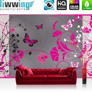 liwwing Vlies Fototapete 416x254cm PREMIUM PLUS Wand Foto Tapete Wand Bild Vliestapete - Ornamente Tapete Blumen Blüte Schmetterling Blätter Ranken Schnörkel grau - no. 1949