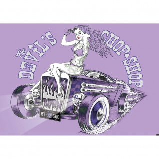 Fototapete Illustrationen Tapete Auto Oldtimer Frau Chop Shop RT Totenkopf lila | no. 1954