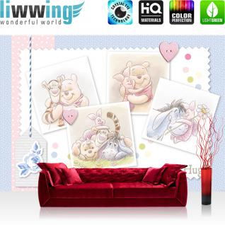 liwwing Vlies Fototapete 104x50.5cm PREMIUM PLUS Wand Foto Tapete Wand Bild Vliestapete - Disney Tapete Winnie Puuh Kindertapete Cartoon Winnie Pooh Ferkel Tigger blau - no. 2343