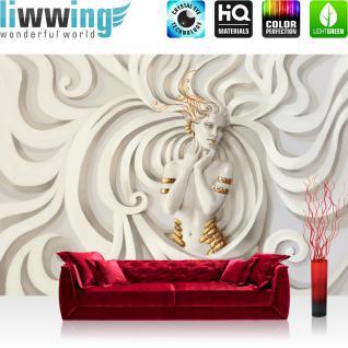 liwwing Vlies Fototapete 400x280 cm PREMIUM PLUS Wand Foto Tapete Wand Bild Vliestapete - A PERFECT WOMAN - Frau Erotik Gold elegant 3D Wand - no. 045