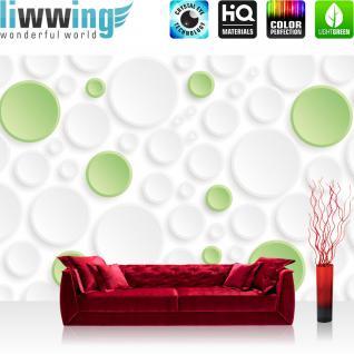 liwwing Vlies Fototapete 312x219cm PREMIUM PLUS Wand Foto Tapete Wand Bild Vliestapete - Kunst Tapete Kreise Kunst Abstrakt Design Muster weiß - no. 2406