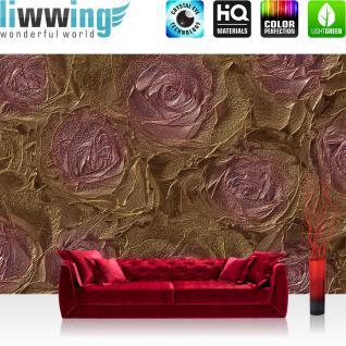 liwwing Vlies Fototapete 312x219cm PREMIUM PLUS Wand Foto Tapete Wand Bild Vliestapete - Blumen Tapete Rosen Blume Blüten Pflanze Liebe braun - no. 1414