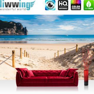 liwwing Vlies Fototapete 152.5x104cm PREMIUM PLUS Wand Foto Tapete Wand Bild Vliestapete - Meer Tapete Strand Horizont Boot Wasser ocker - no. 2662