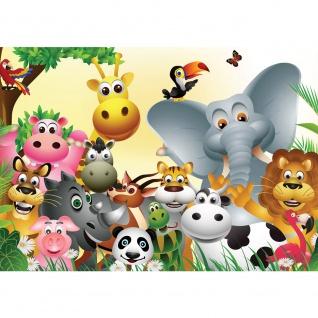 Fototapete Kindertapete Tapete Comic Tiere Zootiere Zoo Elefant Löwe Schlange bunt | no. 2830