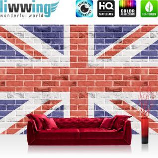 liwwing Vlies Fototapete 416x254cm PREMIUM PLUS Wand Foto Tapete Wand Bild Vliestapete - London Tapete Flagge London Hauptstadt Steinwand Steine bunt - no. 1303