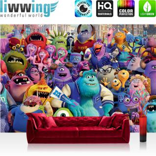 liwwing Vlies Fototapete 416x254cm PREMIUM PLUS Wand Foto Tapete Wand Bild Vliestapete - Disney Tapete Monster AG Kindertapete Cartoon Schule Mike Sully bunt - no. 2311