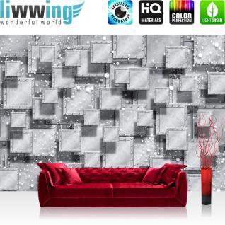 liwwing Fototapete 254x168 cm PREMIUM Wand Foto Tapete Wand Bild Papiertapete - 3D Tapete Abstrakt Rechtecke Platten Nieten Perlen Design 3D Optik grau - no. 883