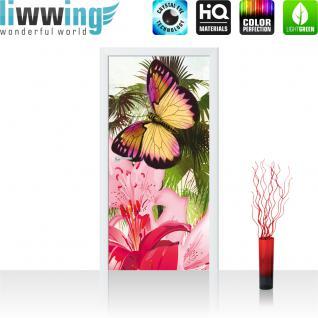 liwwing Türtapete selbstklebend 91x211 cm PREMIUM PLUS Tür Fototapete Türposter Türpanel Foto Tapete Bild - Blumen Palme Schmetterling - no. 1000