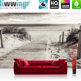 liwwing Vlies Fototapete 312x219cm PREMIUM PLUS Wand Foto Tapete Wand Bild Vliestapete - Strand Tapete Meer Steg Wasser schwarz weiß - no. 3085