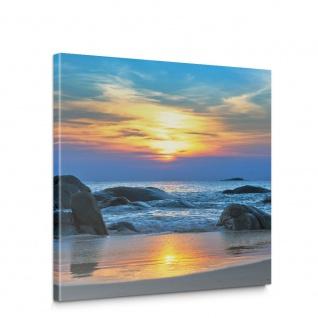 Leinwandbild Strand Felsen Meer Wellen Sonnenuntergang | no. 453