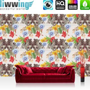 liwwing Vlies Fototapete 312x219cm PREMIUM PLUS Wand Foto Tapete Wand Bild Vliestapete - Tiere Tapete Tiger Tier Muster Blumen Blüten Blätter bunt - no. 2222