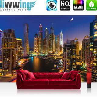 liwwing Vlies Fototapete 416x254cm PREMIUM PLUS Wand Foto Tapete Wand Bild Vliestapete - Skylines Tapete Abu Dhabi Hauptsadt Skyline bunt - no. 1812