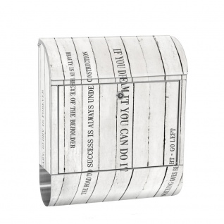 Edelstahl Wandbriefkasten XXL mit Motiv & Zeitungsrolle   Holzoptik Holz Paneel mit Text weiß   no. 0125