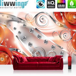 liwwing Vlies Fototapete 312x219cm PREMIUM PLUS Wand Foto Tapete Wand Bild Vliestapete - Kunst Tapete Blumen Blüten Rosen Diamanten Schnörkel Streifen rot - no. 2606