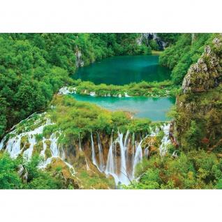 Fototapete Wasser Tapete Fluss Wasserfall Bäume Wald grün   no. 2927