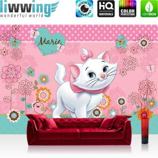 liwwing Vlies Fototapete 400x280 cm PREMIUM PLUS Wand Foto Tapete Wand Bild Vliestapete - Disney Tapete Disney - Aristocats Marie Kindertapete Cartoon Katze Blumen Schmetterling rosa - no. 1113