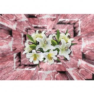 Fototapete Holz Tapete Tunnel 3D Holz Holzoptik Blumen Blüten Orchideen braun | no. 2563