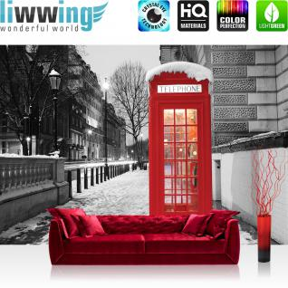 liwwing Vlies Fototapete 416x254cm PREMIUM PLUS Wand Foto Tapete Wand Bild Vliestapete - London Tapete London Telefonzelle Straße Lichter Winter Schnee grau - no. 1425