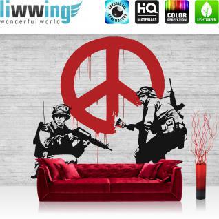 liwwing Vlies Fototapete 416x254cm PREMIUM PLUS Wand Foto Tapete Wand Bild Vliestapete - Steinwand Tapete Steinoptik Steine Malerei Peace weiß - no. 2016