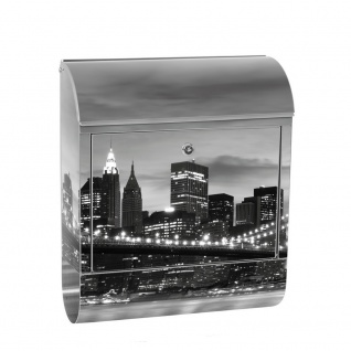 Edelstahl Wandbriefkasten XXL mit Motiv & Zeitungsrolle | New York Bridge Lightning | no. 0269