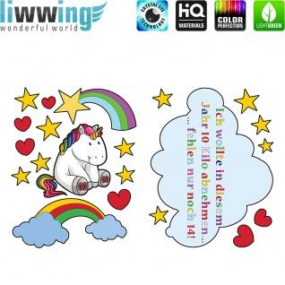 Wandsticker - No. 4778 Wandtattoo Sticker Einhorn Unicorn Pony Herzen Regenbogen Sterne Wolken