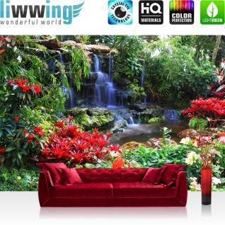 liwwing Vlies Fototapete 300x210 cm PREMIUM PLUS Wand Foto Tapete Wand Bild Vliestapete - Wald Tapete Wasserfall Urwald Pflanzen Baum Natur grün - no. 448
