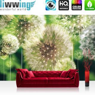 liwwing Vlies Fototapete 350x245 cm PREMIUM PLUS Wand Foto Tapete Wand Bild Vliestapete - Pflanzen Tapete Pusteblumen Wiese Natur Blumen grün - no. 285