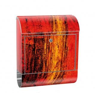 Edelstahl Wandbriefkasten XXL mit Motiv & Zeitungsrolle | abstrakt 3D Rot braun Hintergrund | no. 0103