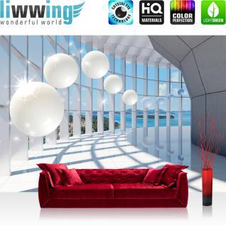 liwwing Vlies Fototapete 312x219cm PREMIUM PLUS Wand Foto Tapete Wand Bild Vliestapete - Architektur Tapete See Ufer Kugeln Sterne bunt - no. 3328