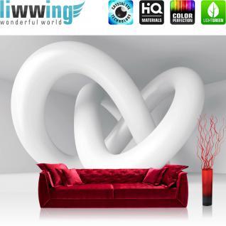 liwwing Vlies Fototapete 400x280 cm PREMIUM PLUS Wand Foto Tapete Wand Bild Vliestapete - Kunst Tapete Abstrakt Schlingen 3D weiß - no. 590