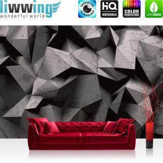 liwwing Fototapete 368x254 cm PREMIUM Wand Foto Tapete Wand Bild Papiertapete - 3D Tapete Abstrakt Rechtecke Dreiecke Gebirge Design 3D Optik grau - no. 894