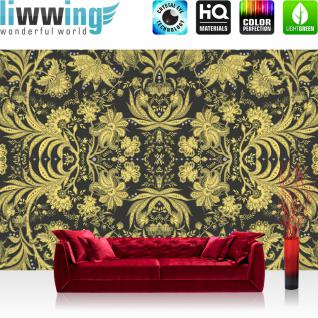 liwwing Fototapete 254x168 cm PREMIUM Wand Foto Tapete Wand Bild Papiertapete - Kunst Tapete Blumen Blätter Kunst Design gold - no. 3026
