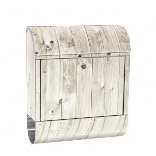 Edelstahl Wandbriefkasten XXL mit Motiv & Zeitungsrolle | Holzoptik Holz Holzpaneel weißes Holz | no. 0091