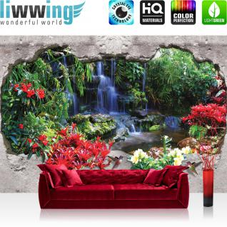 liwwing Fototapete 254x168 cm PREMIUM Wand Foto Tapete Wand Bild Papiertapete - Steinwand Tapete Steinoptik Wasserfall Blumen Blüten grau - no. 2655