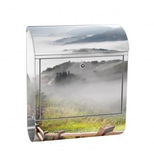 Edelstahl Wandbriefkasten XXL mit Motiv & Zeitungsrolle | Berge Aussicht Alpen Urlaub Bern | no. 0053