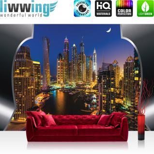 liwwing Fototapete 368x254 cm PREMIUM Wand Foto Tapete Wand Bild Papiertapete - Skylines Tapete Skyline Panorama Hafen Lightning Rahmen Yacht City blau - no. 628