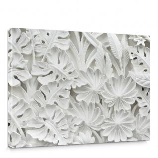 Leinwandbild Blätter Blüten Stuck Alabaster | no. 3195