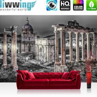 liwwing Vlies Fototapete 208x146cm PREMIUM PLUS Wand Foto Tapete Wand Bild Vliestapete - Rom Tapete Stadt Säulen Architektur schwarz weiß - no. 1841