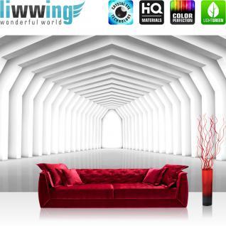 liwwing Vlies Fototapete 208x146cm PREMIUM PLUS Wand Foto Tapete Wand Bild Vliestapete - 3D Tapete Tunnel Spiegelung Bogen Weg Säulen 3D Optik weiß - no. 1504
