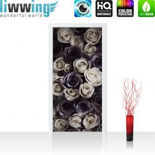 liwwing Vlies Türtapete 91x211 cm PREMIUM PLUS Tür Fototapete Türposter Türpanel Foto Tapete Bild - Blumen Blüten Rosen - no. 910