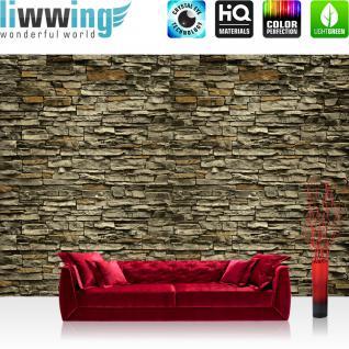 liwwing Fototapete 254x168 cm PREMIUM Wand Foto Tapete Wand Bild Papiertapete - Steinwand Tapete Steinwand Steine Steinoptik braun - no. 621
