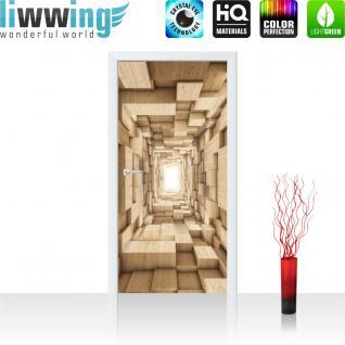 liwwing Vlies Türtapete 91x211 cm PREMIUM PLUS Tür Fototapete Türposter Türpanel Foto Tapete Bild - Abstrakt Holz Kasten Tunnel 3D - no. 944