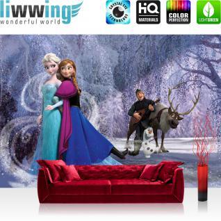liwwing Fototapete 368x254 cm PREMIUM Wand Foto Tapete Wand Bild Papiertapete - Disney Tapete Frozen Eiskönigin Cartoons Illustration blau - no. 1215