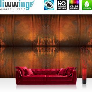 liwwing Fototapete 368x254 cm PREMIUM Wand Foto Tapete Wand Bild Papiertapete - Texturen Tapete Metall Streifen Vintage ocker - no. 2130