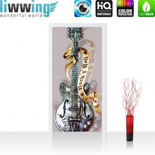 liwwing Türtapete selbstklebend 91x211 cm PREMIUM PLUS Tür Fototapete Türposter Türpanel Foto Tapete Bild - Gitarre Rock `n` Roll - no. 291